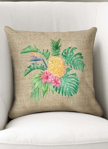 Lyn Home & Decor Jüt Ananslı Yaprak Yastık Kılıfı Renkli